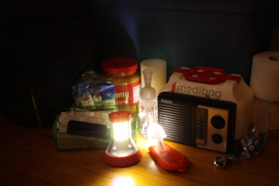 Emergency supply kit with LED Lights